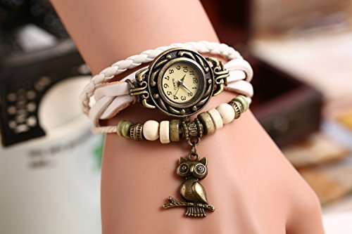 Wrap Stylish Around - Domire Quartz Stylish Weave WRAP Around Leather Bracelet Lady Woman Wrist Watch(owl)