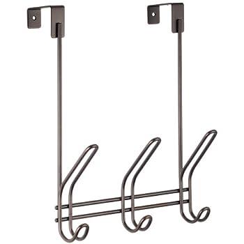iDesign Classico Metal Over the Door Organizer, 3-Hook Rack for Coats, Hats, Robes, Towels, Bedroom, Closet, and Bathroom, 5