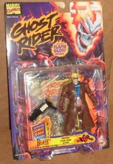 BLAZE with Mystical Flame Firing Action * Flame Glow Details* 1995 Marvel Comics Ghost Rider Action Figure & Mini Comic Book - Ghost Rider Horse