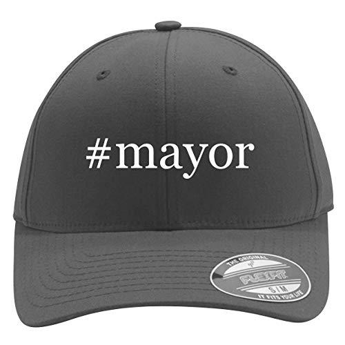 #Mayor - Men's Hashtag Flexfit Baseball Cap Hat, Silver, Large/X-Large