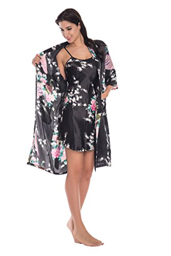 Yukata Womens Gorgeous Loungewear 2PC Set Sleepwear Camisole & Robe, Black L (Satin Nightgown)