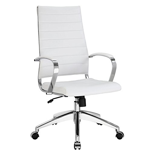 Modway Jive Ribbed High Back Tall Executive Swivel Office Chair With Arms In White