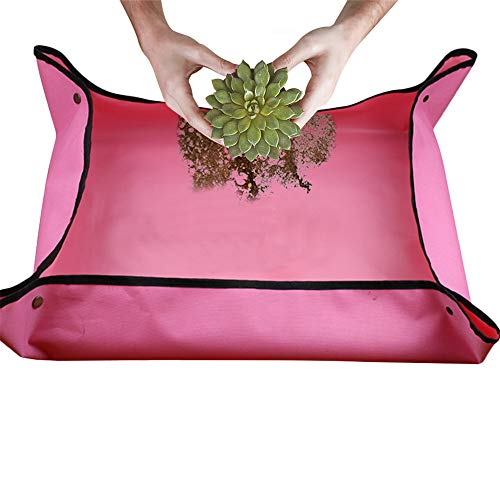 Non Corrosive Planter - EKUEE Gardening Mat Succulents Flowers Tools Change Soil Watering Pads Gardening Planting Operation Mats Garden Decoration Accessories (Rose red)