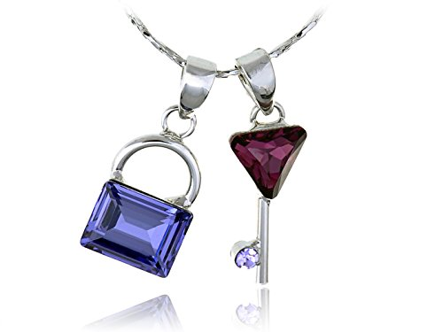Alilang Sapphire Lock Synthetic Amethyst Key Pair Safeguard Swarovski Crystal Element Necklace (Lock And Key Costume)