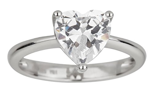 Sterling Silver Rhodium 8mm Heart Cut Cubic Zirconia Solitaire Engagement Ring