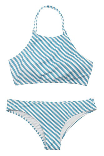 Blue And White High Neck Bikini in Australia - 7