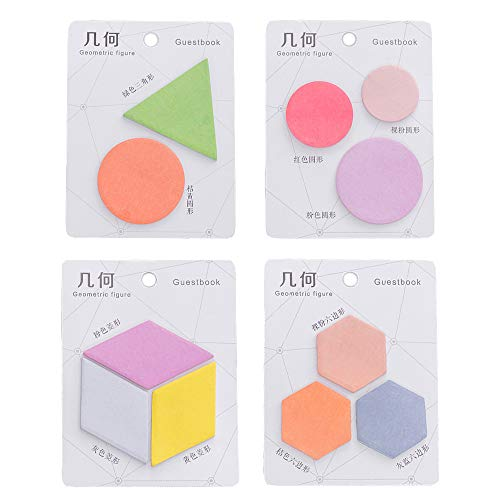 ERCENTURY Creative Sticky Notes in 4 Different Types Geometric Figure, Including Circular, Rhombus, Triangle and Hexagon. (20 Sheets per Figure, 242 Sheets in Total)