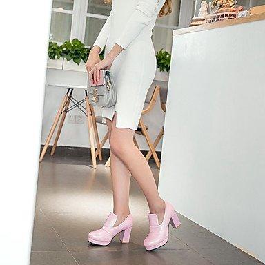Talones de las mujeres de cuero Primavera Otro oficina y carrera del vestido ocasional de tacón grueso Negro Azul Rosa Blanco Otro White