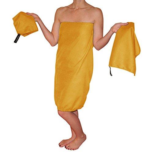 Country Bound 3-Piece Microfiber Travel Towel Set - Light Orange