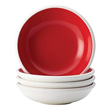 Rachael Ray Dinnerware Rise Collection 4-Piece Stoneware Fruit Bowl Set, Red