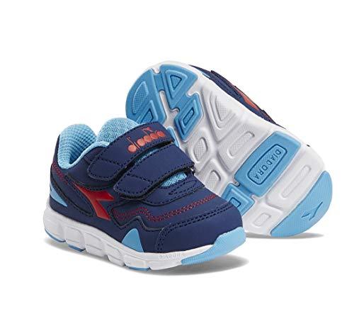 Diadora Flamingo Infant/Toddler Running Shoe Sneaker (6.5 M US Toddler, Estate Blue/Light Blue/Red)