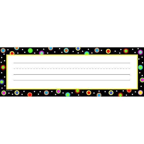 Creative Teaching Press Dots on Black Name Plates (Black Desk Plate)