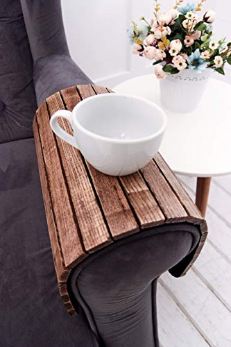 Sofa Arm Tray Table 18x12 Inches Folding Drink Holder for Round and Square Couch Flexible Coffee Tea Wood Stand Under Armchair Organizer Housewarming Grandma Mothers Day Gift