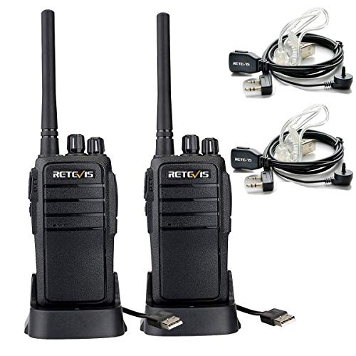 Retevis RT21 Two Way Radio Rechargeable USB Charging UHF FRS CTCSS DCS VOX Scan Squelch Walkie Talkies with Covert Air Acoustic Earpiece 2 Pack