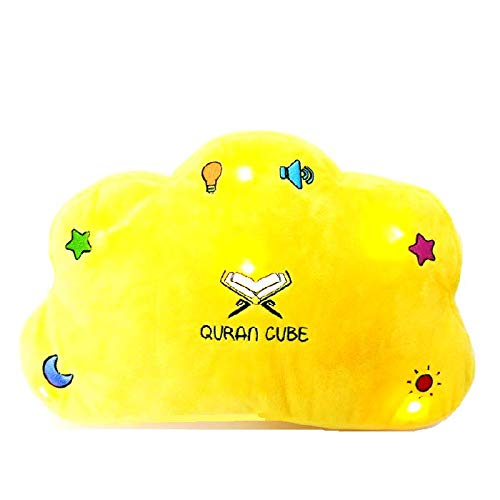 QuranCube QURAN PILLOW – DUA KALIMA SURAH – LIGHT AND SOUND - SOFT & CUDDLY - BEST GIFT FOR YOUR KIDS & FAMILY LEARN QURAN, DUAS FROM EARLY AGE,DUROOD SHARIF,KALIMA ENGLISH DUAS (Yellow)