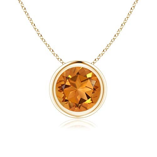 Citrine Pendant Set - Bezel Set Citrine Pendant Necklace in 14k Yellow Gold (7mm), 18