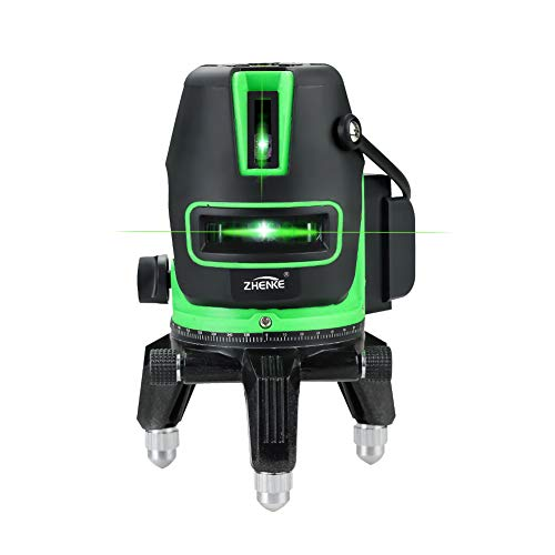 360°Automatic Self-leveling laser 5 Lines 6 Points OSRAM Highlight Green Vertical and Horizontal Cross Line Laser Level Indoor & Outdoor use Mode with Free Aluminum Carrying Case