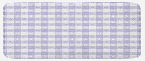 Lunarable Lavender Kitchen Mat, Pastel Colored Classic Gingham Check Pattern with Delicate Small Blossoms, Plush Decorative Kithcen Mat with Non Slip Backing, 47