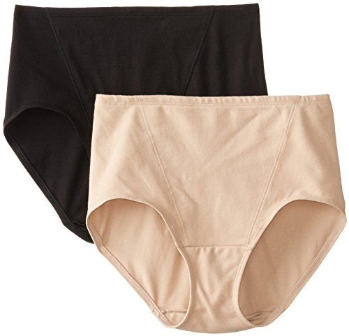 Light Control Brief (Bali Women's Shapewear Shaping Briefs Light Control 2-Pack, Black/Nude, Large)