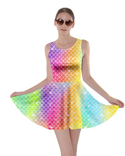 CowCow Womens Star Cluster Rainbow Scales Pattern Skater Dress - XL