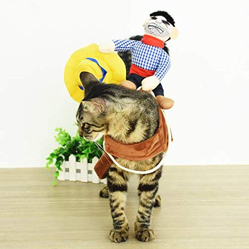 Vevins Cowboy Dog Cat Funny Costume Halloween Christmas Pet Apparel with Doll and Hat Horseman Knight Cosplay Clothes Size S