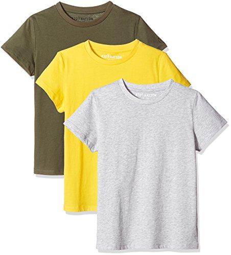 Kid Nation Kids Unisex 3 Packs 100% Cotton Tagless Short Sleeve Crewneck T Shirts 4-12 Years