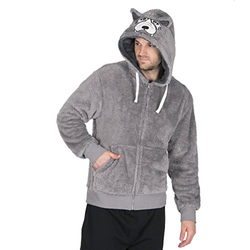 Cargobay Mens Novelty Snuggle Fleece Wolf and Gorilla Animal Themed Hoodie Wolf X-Large]()