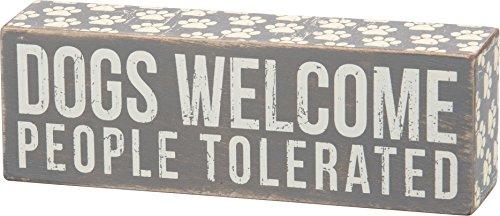 (Primitives by Kathy Gray Paw Print Trimmed Box Sign, 7.5 x 2.5-Inches, People Tolerated)