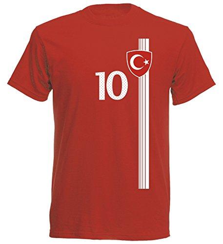 Türkei Türkiye Herren T-Shirt Nummer 10 Trikot Fußball Mini EM 2016 T-Shirt - S M L XL XXL - rot NC ST-1