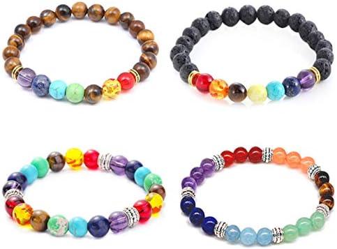 Chakra Armband Tigerauge Naturstein Armbänder 7 Chakra Perlen Lavastein Für Yoga Meditation Packung Mit 4 Stück Amazon De Drogerie Körperpflege