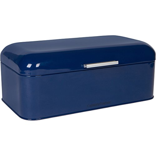 Large Blue Bread Box - Powder Coated Stainless Steel - Extra Large Bin for Loaves, Bagels & More: 16.5' x 8.9' x 6.5' | With Bonus Recipe EBook by Culinary Couture