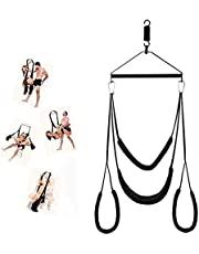 LTT 360 Degree Spinning Indoor Swing š&êx with Steel Triangle Frame and Spring Support 800 lbs, Black (Black)