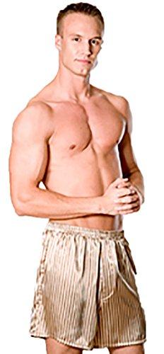 Men's Satin Stripes Boxer Short # 80182 (M, Beige Stripes)