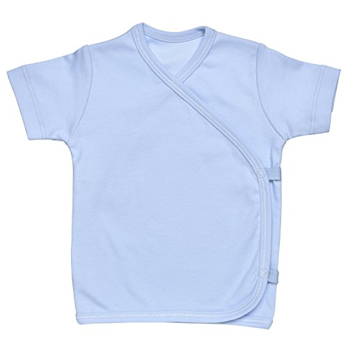Boy Short Sleeve Side-Snap T-Shirt Size 0-3M Solid Blue Organic Cotton ()