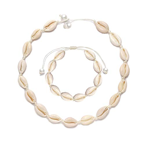 - Natural Shell Choker, Handmade Seeshell Necklace Adjustable Cowries Shell Anklet Bangle, Boho Hawaii Summer Beach Necklaces Bracelet Set Jewelry for Women Girls with Gift Box - White Rope