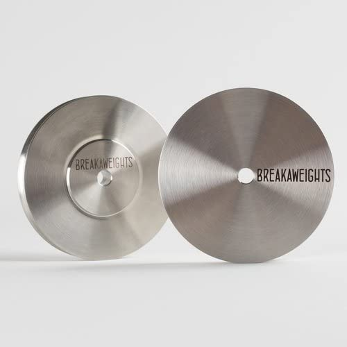 Breakaweights Pair – Portable Stainless Steel Record Weight Disc Stabilizers – Fits Vinyl LP 45 Records