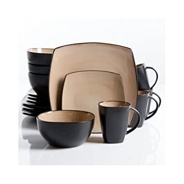 Square Dinnerware Service for 8, Plates Bowls Mugs, 32-Piece Set, Modern Taupe & Black by Gibson Home