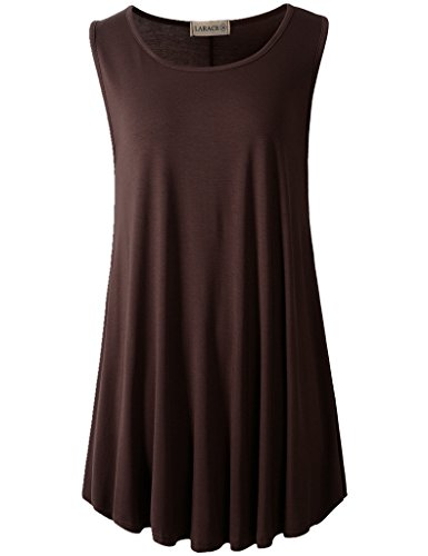 LARACE Women Solid Sleeveless Tunic for Leggings Swing Flare Tank Tops (3X, ()