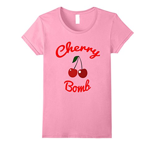 Cherry Womens Shirt (Womens Retro 70s Cherry Bomb Vintage Style Cute T-Shirt Large Pink)
