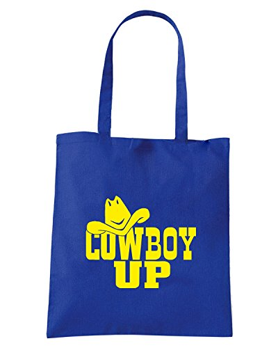 T-Shirtshock - Bolsa para la compra FUN1060 cowboy up diecut vinyl decal 07253 Azul Real
