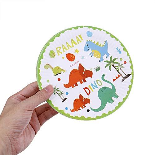 10 platos de papel de dinosaurio desechables para fiestas de ...