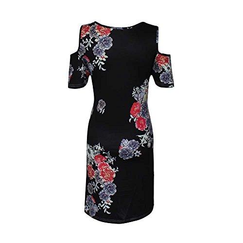 L paule Mini Vrac 1 Robe Rond en Vestmon la Taille Floral Sexy Femmes Plus Style Print Vintage Shirt col Dcontract Robe Froide T tFtOraZB