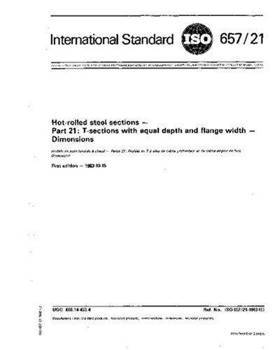 ISO 657-21:1983, Hot-rolled steel sections - Part 21 : T-sections with equal depth and flange width - Dimensions