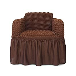 NICEEC Sofa Slipcover Red Sofa Cover 1 Piece Easy Fitted Sofa Couch Cover Universal High Stretchable Durable Furniture Protector with Skirt Country Style (3 Seater Wine Red)