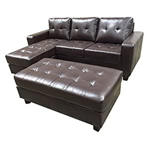Abbyson Living Lucia Leather 3 Piece Reversible Sectional with Ottoman