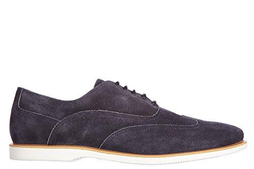Hogan chaussures à lacets classiques homme en daim nuove oxford h 262 francesina blu