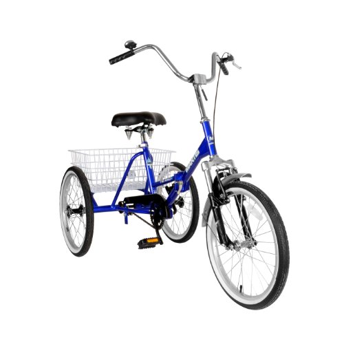 - Mantis 67520 Tri-Rad Folding Adult Tricycle, 20 inch Wheels, 16 inch Frame, Unisex, Blue