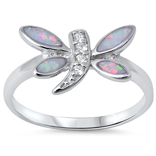 Lab Created White Opal & Cz Dragonfly .925 Sterling Silver Ring size 8 (Sterling Silver Dragonfly Ring)