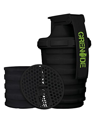 Grenade Shaker Bottle | Protein Cup with Storage Compartment | Leak Proof Strainer Included | BPA Free Sports Bottle | Pill Slots |  Black, 20oz