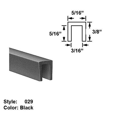 Neoprene Rubber U-Channel Push-On Trim, Style 029 - Ht. 3/8'' x Wd. 5/16'' - Black - 25 ft long by Gordon Glass Co.
